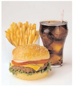 Photo of a Hamburger and fries